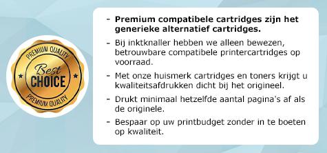 Premium compatibele cartridges zijn het generieke alternatief cartridges. Bij inktknaller hebben we alleen bewezen, betrouwbare compatibele printercartridges op voorraad. Met onze huismerk cartridges en toners krijgt u kwaliteitsafdrukken dicht bij het origineel. Drukt minimaal hetzelfde aantal pagina's af als de originele. Bespaar op uw printbudget zonder in te boeten op kwaliteit.