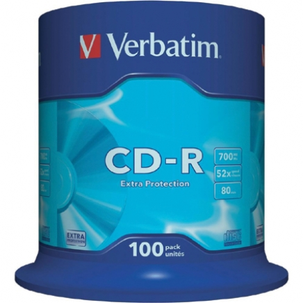 Verbatim CD-R 52x 700MB Extra Protection Cakebox 100